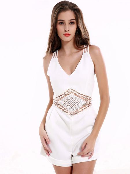 Women's White Jumpsuit Strappy V Neck Sleeveless Cross Back Cut Out Romper