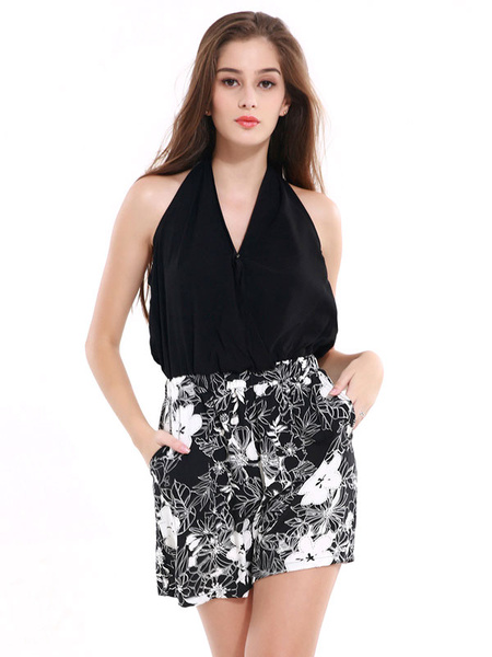 Sexy Black Jumpsuit Women's V Neck Sleeveless Floral Printed Cotton Romper