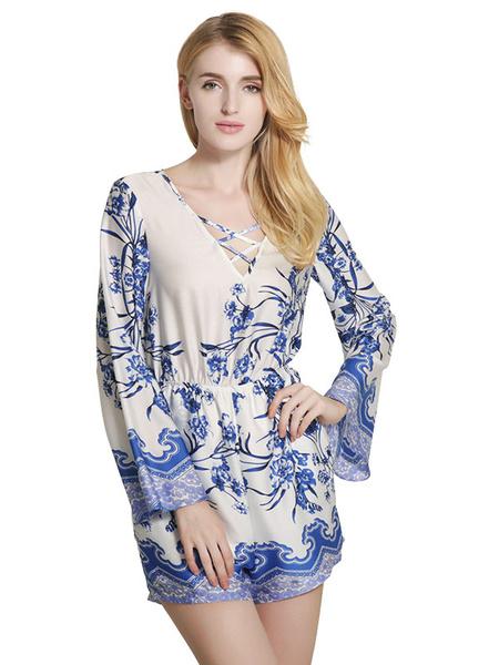 Women's Blue Jumpsuit V Neck Long Sleeve Printed Cotton Loose Leg Romper