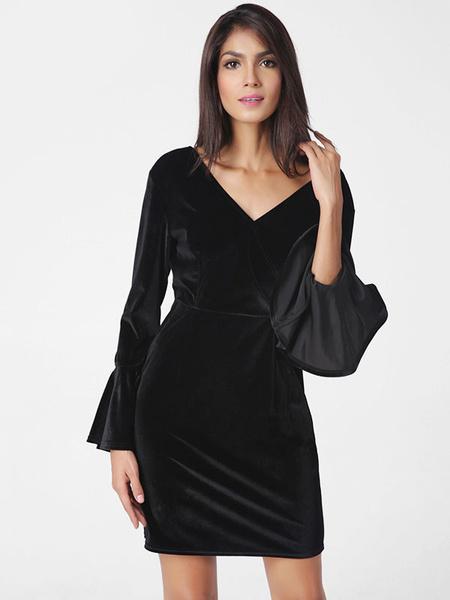 Black Bodycon Dress V Neck Bell Long Sleeve Backless Slim Fit Sheath Dress фото