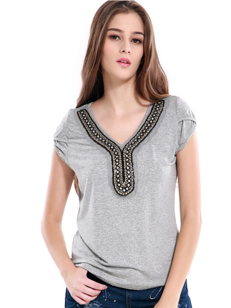Boho Short Sleeve T Shirt Woemen's Grey V Neck Studded Cotton T Shirt фото