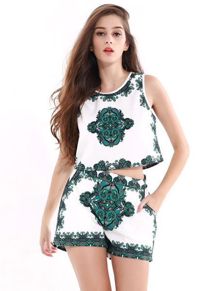 2 Piece Outfit Two Tone Round Neck Sleeveless Printed Top With Shorts