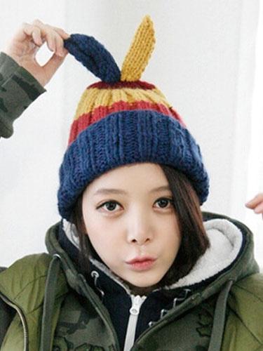 Rib Beanie Hat Women's Bunny Ears Multi Color Knitted Cap Milanoo