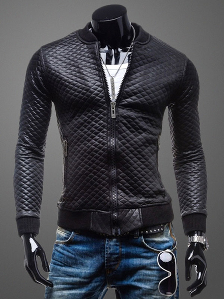 Quilted Black Jacket Men's Long Sleeve PU Leather Zip Up Jacket фото
