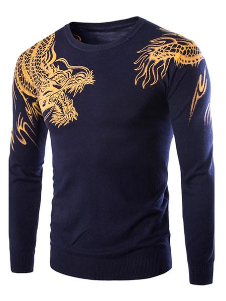 Мужской пуловер свитер Дракон отпечатано с длинным рукавом шею свободного покроя свитер