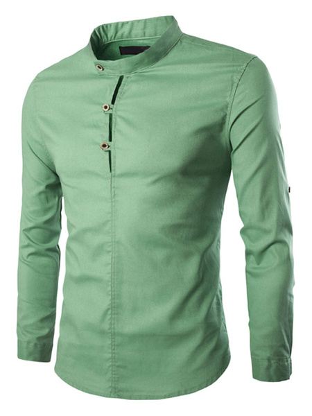 Men's Green Shirt Stand Collar Long Sleeve Cotton Slim Fit Casual Shirts фото