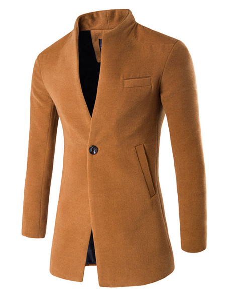 Khaki Men's Coat Stand Collar 1 Button Long Sleeve Fit Winter Coat And Jacket фото
