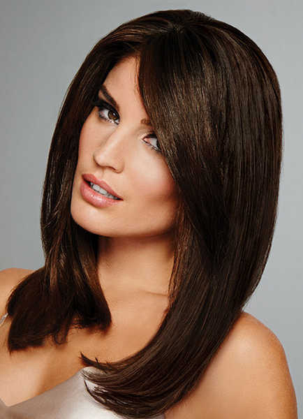 Long Straight Wig Layered Inner Buckle Brownish Black Hair Wig For Women