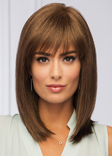 Straight Human Hair Wigs Heat Resistant Fiber Layered Women's Wigs In Brown