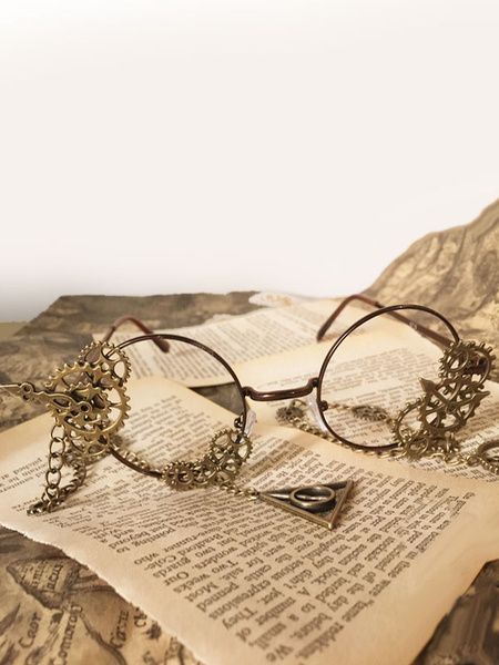 Steampunk Lolita Glasses Vintage Chains Gear Bronze Lolita Costume Accessories фото
