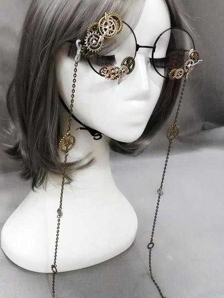 Image of Vintage Lolita Glasses Steampunk Gear Chains Bronze Lolita Costume Accessories
