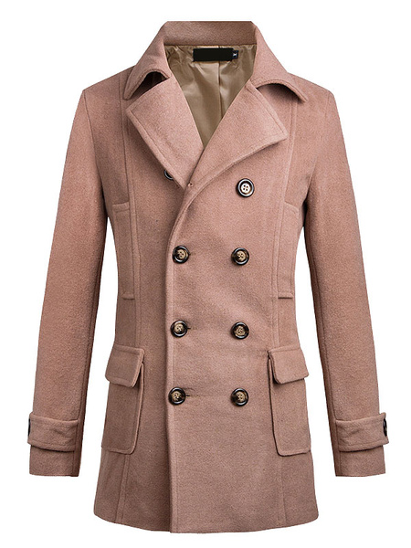 Men's Pea Coat Light Tan Turndown Collar Long Sleeve Double Breasted Cotton Winter Coat фото