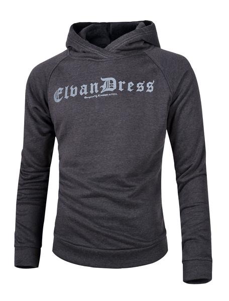 Grey Hooded Sweatshirt Men's Long Sleeve Printed Winter Pullover Hoodie фото