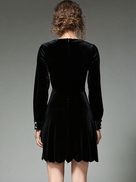 Milanoo / Skater negro terciopelo V cuello manga larga plisada Flare Fit Slim Vestido de