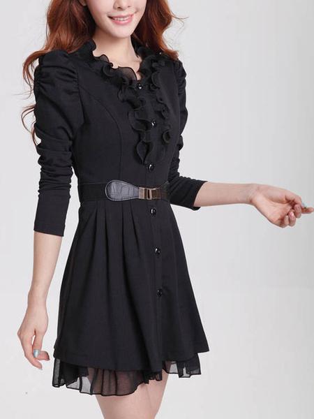 Black Skater Dress Women's Embellished Collar Juliet Long Sleeve Pleated Flare Dress фото