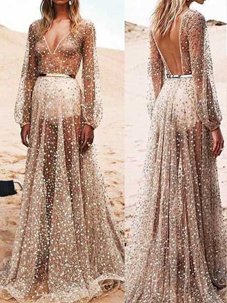 Sexy Maxi Dress Tulle Apricot V Neck Long Sleeve Sheer Floor Length Evening Dress фото