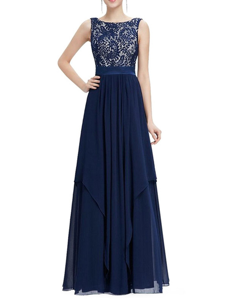 Chiffon Maxi Dress Lace Patchwork Backless Women' Tiered Sash Sleeveless Long Dress, Royal blue;burgundy;light sky blue;green;purple;black;blue