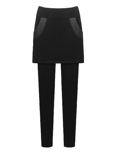 Black Skinny Leggings Fleece Lined Women's Elastic Waist Quilted Ankle Length Leggings With Skirt