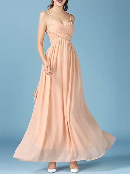 Chiffon Maxi Dress Apricot Strappy Sleeveless Cross Front Pleated Long Dress