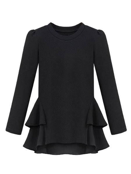 Ruffle Black T Shirts Long Sleeve Women's Tiered Round Neck Tops фото