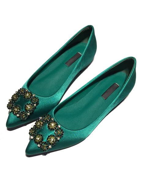 Appartements de Satin verts a souligné Toe pompes boutons Slip de couleur unie sur les chaussures po