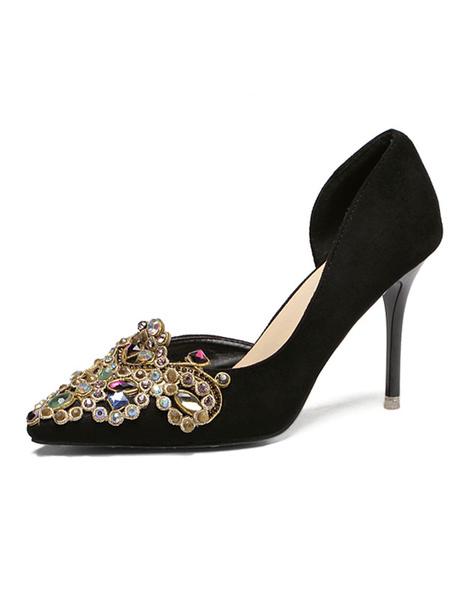 Black High Heels Stiletto Suede Pumps Women's Rhinestone Pointed Toe Slip On Shoes For Women фото