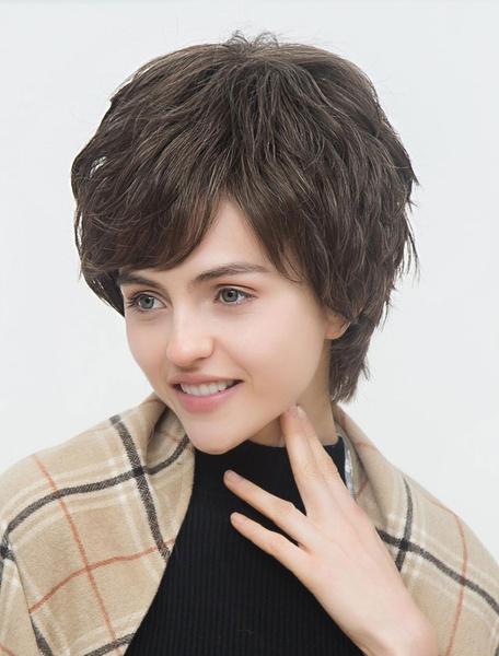 Short Human Hair Wigs Tan Layered Capless Women's Hair Wigs фото