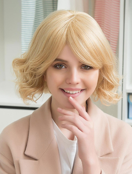 Blonde Human Hair Wigs Curly Short Hair Wigs Capless Layered Women's Wigs With Side Swept Bangs фото