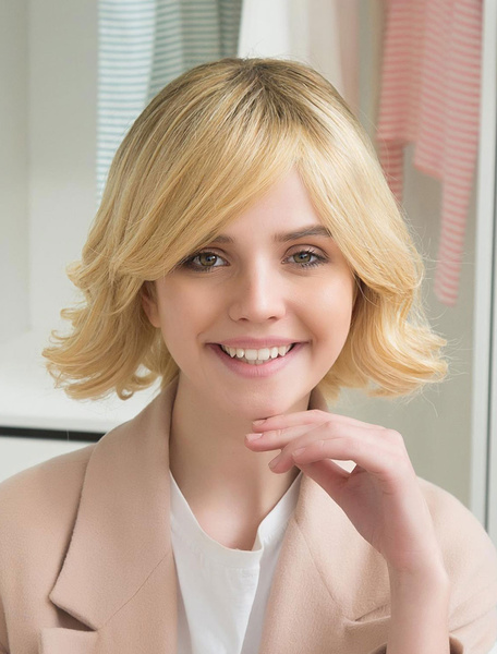 Blond Human Hair Wigs Side Swept Bangs Natural Wave Curly Hair Wigs For Women фото