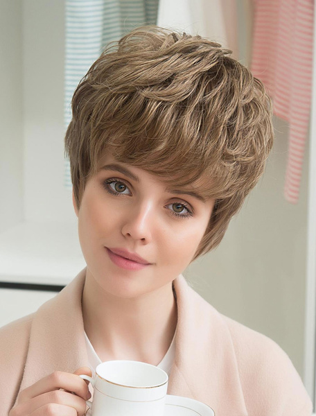 Short Human Hair Wigs Layered Curly Hair Wigs Capless Pixie Cut Women's Wigs With Side Swept Bangs фото