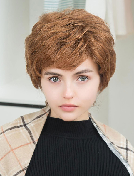Women's Hair Wigs Short Human Hair Wigs With Side Swept Bangs фото