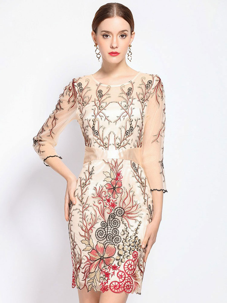 Red Bodycon Dress Women's Illusion Round Neck Half Sleeve Floral Embroidered Slim Fit Sheath Dress