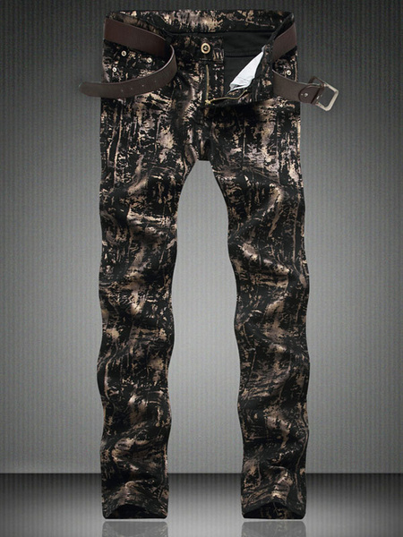 Black Denim Jeans Full Painted Men's Skinny Printed Jeans фото