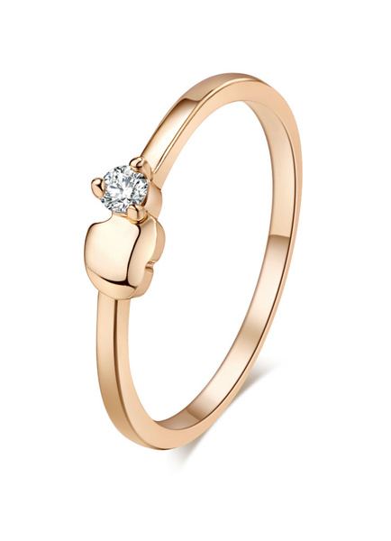Gold Engagement Ring Women's Rhinestone Copper Round Rings фото