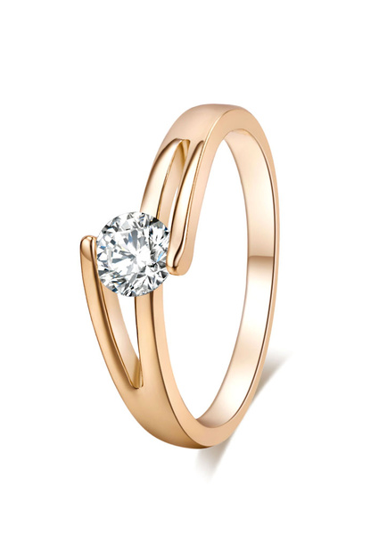 Gold Engagement Ring Women's Crystal Copper Cross Round Rings фото