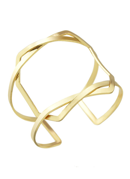 Gold Cuff Bracelet Women's Cut Out Alloy Jewelry фото