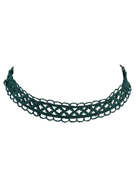 Green Choker Necklace Woven Hollow Out Women's Short Necklace фото