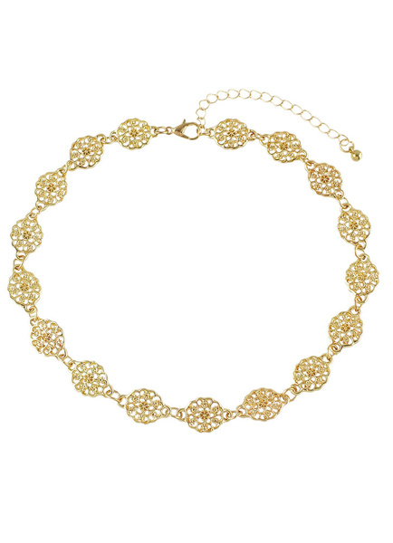 Gold Choker Necklace Women's Alloy Flowers Short Necklace фото