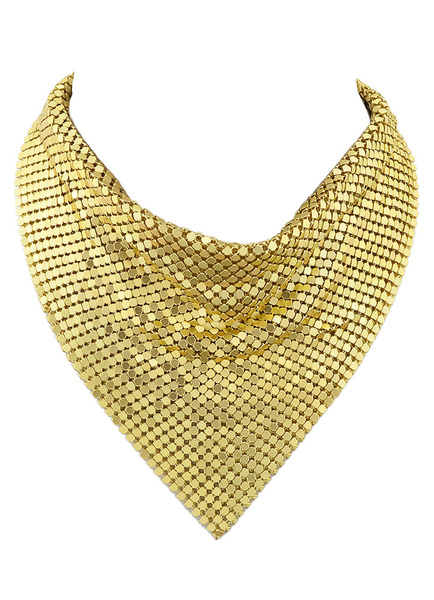 Gold Choker Necklace Glitter Women's Sequins Neckerchief Style Triangle Short Necklace фото