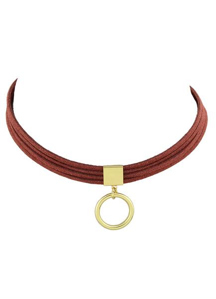 Women's Choker Necklace Corduroy Cord Short Choker With Pendant фото