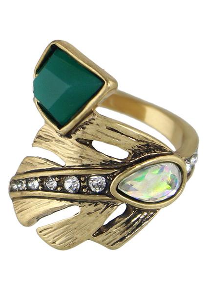 Vintage Women's Rings Gold Alloy Diamond Embellished Rings Milanoo