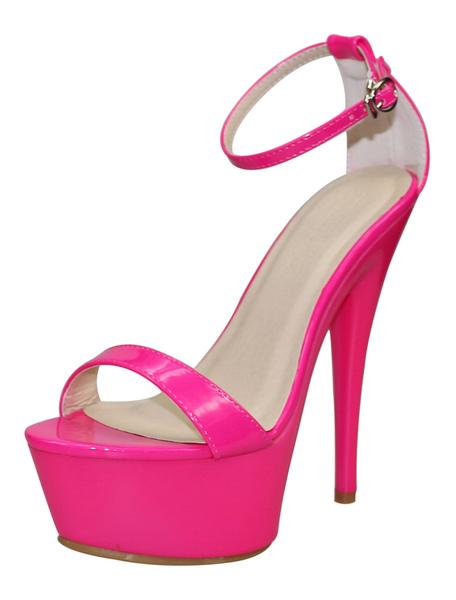 Women's Platform High Heels Rose Red Ankle Strap Prism Heel
