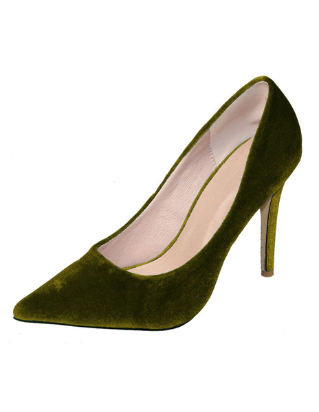 Velvet High Heels Pointed Toe Slip On Pumps Shoes In Burgundy фото