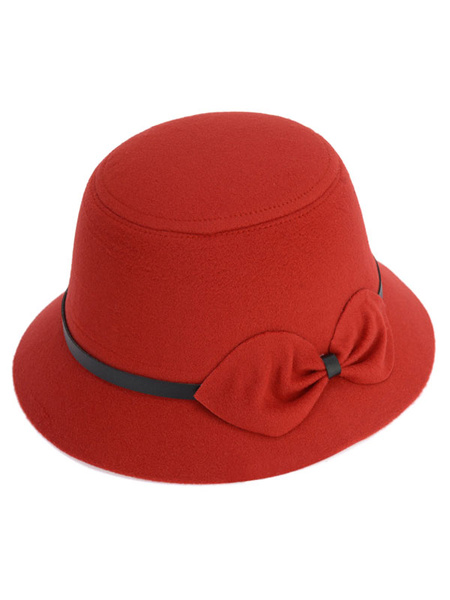 Wool Bucket Hat Women's Red Flat Top Felt Hat With Bow Buckle фото