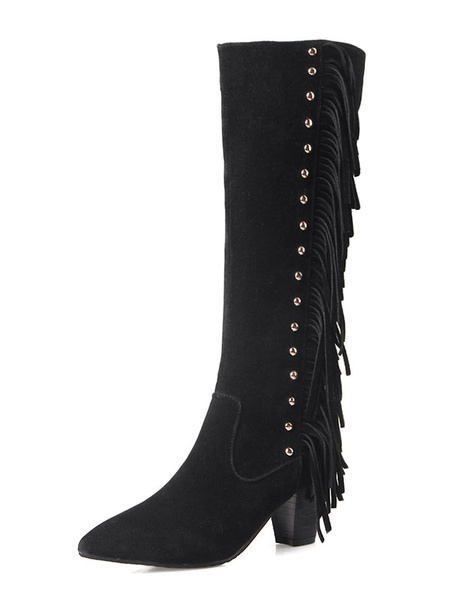 Black Knee High Boots Rivet Chunky Heel Pointed Toe Suede Fringe Boots For Women фото
