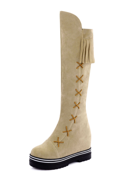 Suede Knee High Boots Apricot Wedge Boots Women's Round Toe Platform Winter Boots With Fringe фото