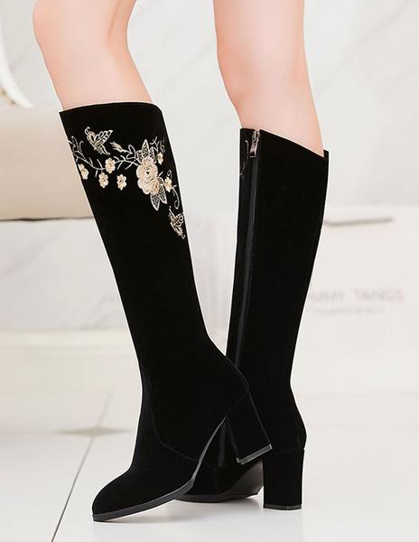 Milanoo / Botas a la rodilla de felpa negras Color liso con bordado estilo moderno