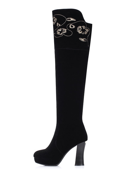 Knee High Boots Black Suede High Heel Boots Embroidered Platform Chunky Heel Winter Boots фото