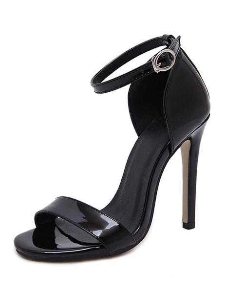 Black Dress Sandals Stiletto Heel Open Toe Ankle Strap Sandal Shoes For Women