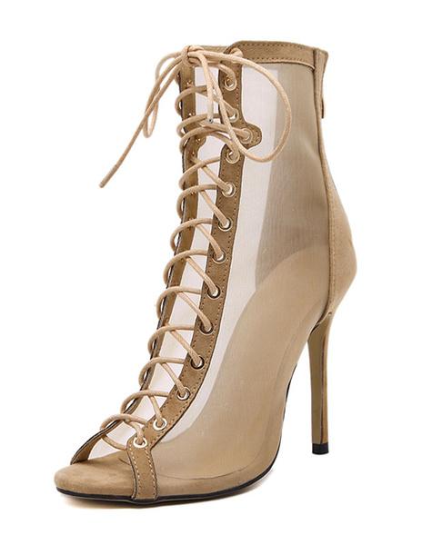 Maille Peep Lace sandale abricot bottes talon haut féminin Up sandales talon aiguille
